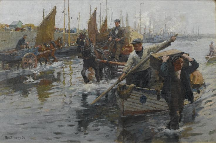 Harold Harvey (1874-1941), 'Unloading the boats, Newlyn Harbour', signed and dated 'Harold Harvey.06' (lower left), oil on canvas, 30.5 x 46 cm. (12 x 18 in.)