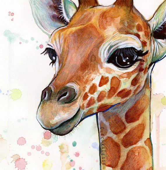 Arte De Berçário, Arte Girafa, Impressão De Girafa, Aquarela De Girafa Do Bebê, Animais Do Bebê, Bebê Menina   – Gfk