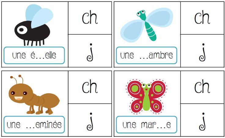 Jeu de pince sur les sons : discrimination des sons en CP ou CE1 ; ch j