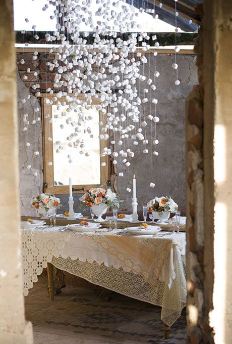 marshmallow snow - great backdrop for winter wedding OR cotton balls
