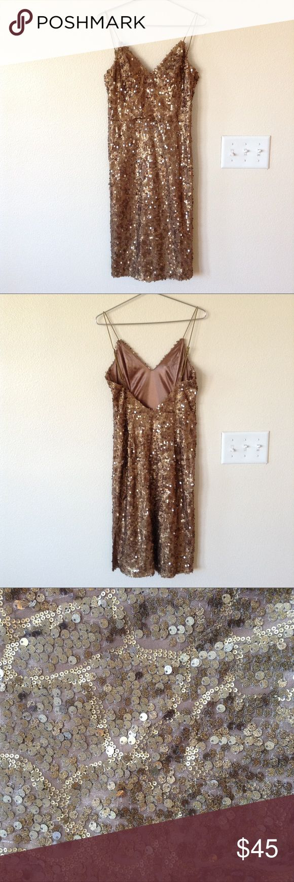 Gianni Bini Gold and Brown Sequin Dress Gorgeous Gianni Bini dress with gold and shimmering brown sequins. Zips up on the side. It has a nice weight to it and a small slit on the left side of the dress. This is a showstopper! Perfect for NYE! Gianni Bini Dresses