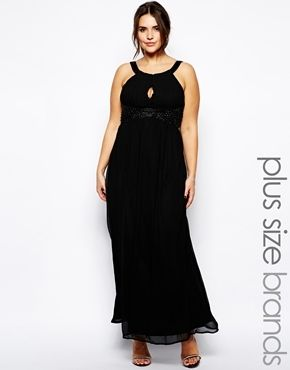 AX Paris Plus Size Pleat Embellished Key Hole Maxi Dress - black