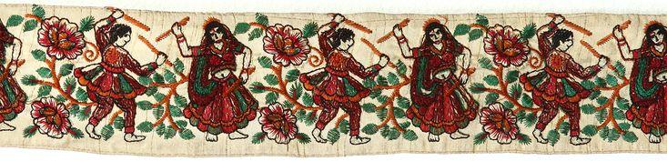 Beige Fabric Border with Embroidered Dandiya Raas Dance