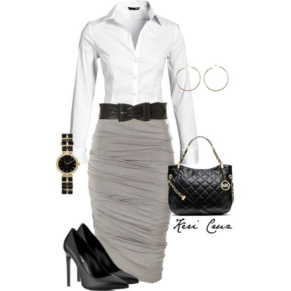 A fashion look from December 2013 featuring H&M blouses, Donna Karan skirts and Yves Saint Laurent pumps. Browse and shop related looks.