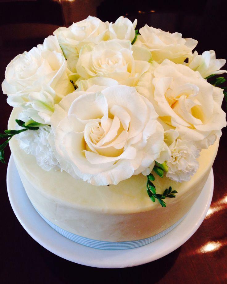 White Chocolate layered cake with fresh flowers