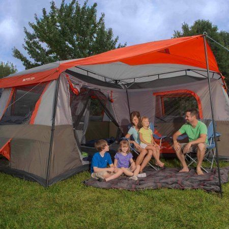 Ozark Trail 16x16-Feet 12-Person 3 Room Instant Cabin Tent with Pre-Attached Poles, Red color ** Unbelievable outdoor item right here! : Hiking tents