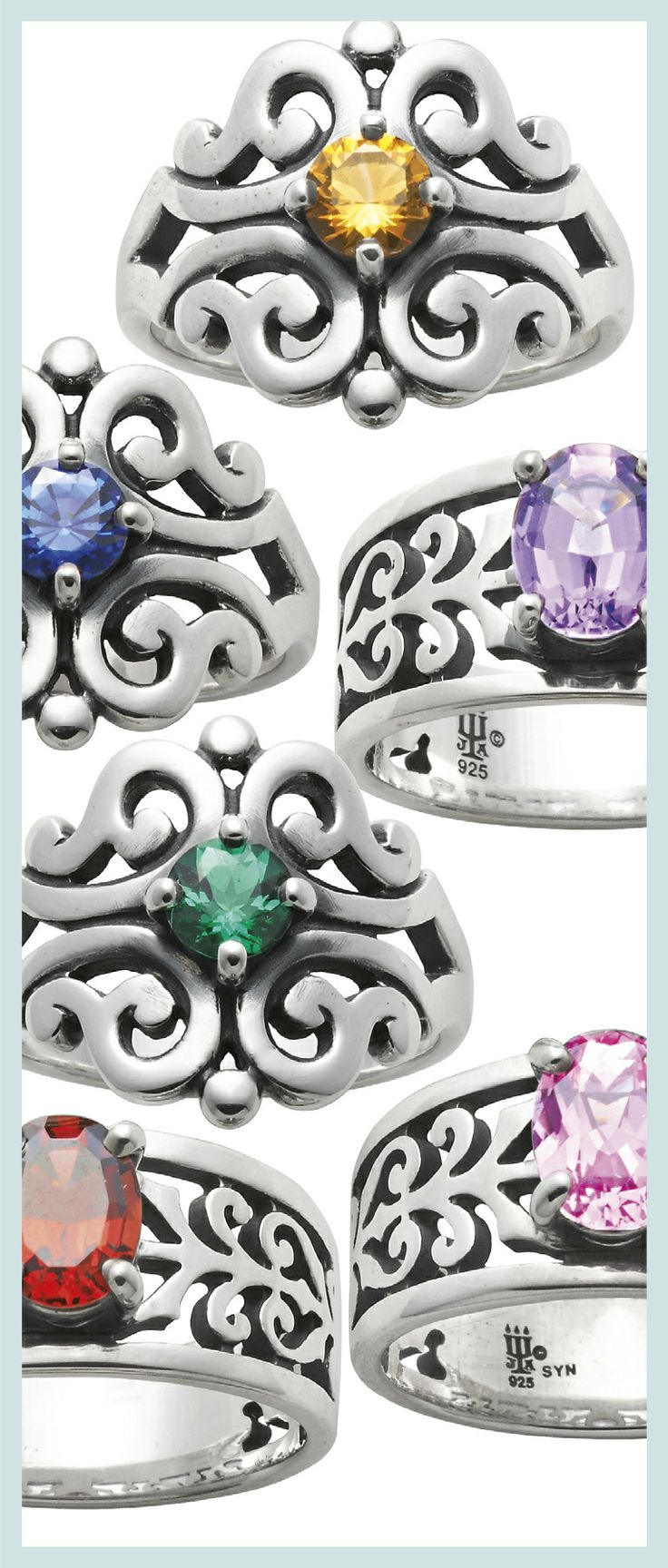 Spanish Lace Rings and Adoree Rings with Gemstones #jamesavery #rings