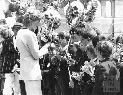 Princess Diana meeting children from King Edwards School Bath 10 December 1992