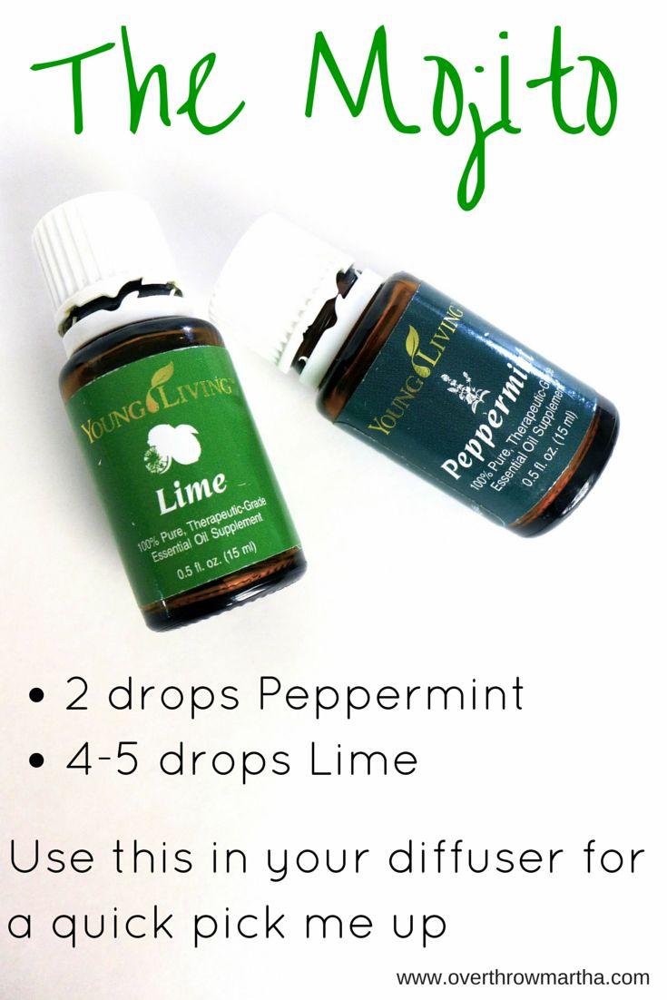 """The Mojito"" essential oil diffuser blend! Click to read 25 Diffuser Recipes with Essential Oils."