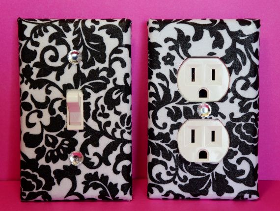 Black Damask Outlet Cover & Light Switch Plate by ELECTRIKKRAYON, $14.00 Girls, Girls Decor, French Decor, Damask Decor, Bathroom Decor, Girlie Bedroom, Black & White Decor