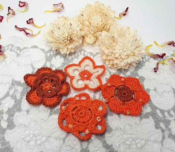 4 orange lace flowers crochet flowers orange crochet by Rocreanique on Etsy