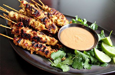 Satay or sate, is a dish of marinated, skewered and grilled meat, served with a sauce. Chicken Satay usually served with peanuts sauce.
