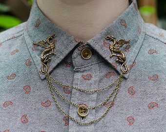 Bronze Bird Wing Collar Clip Collar Chain by DapperandSwag on Etsy