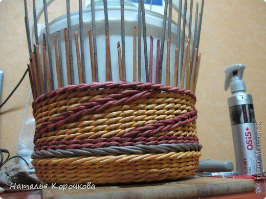 Поделка изделие День рождения Декупаж Плетение Вариации на тему косы Картон Салфетки Трубочки бумажные фото 12