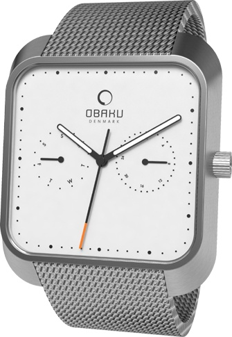 (Limited Supply) Click Image Above: Obaku Harmony Mens Multifunction Stainless Watch - Silver Bracelet - White Dial - V145ucimc