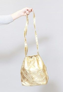 f00653ae954 Vintage 1980 s Picard Gold Quilted Faux Leather Bag