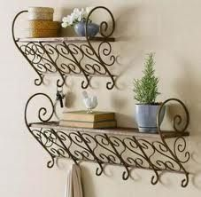 wrought iron shelves for bathroom