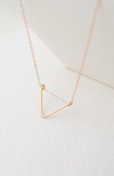 Rose Gold Triangle Necklace simple geometric