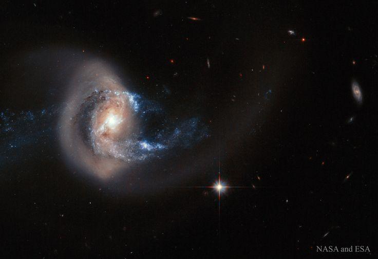 La galaxia NGC 7714 tras la colisión  ¿Está atravesando esta galaxia un anillo gigante de estrellas? Probablemente no. Aunque la  dinámica que hay detrás no está clara, el hecho es que la galaxia de la fotografía,  NGC 7714 , se ha estirado y deformado a causa de una colisión reciente con una galaxia vecina. Se cree que esta vecina más pequeña,  NGC 7715 (a la izquierda), embistió  NGC 7714. Las observaciones indican que el  anillo dorado se compone de millones de estrellas similares al Sol…