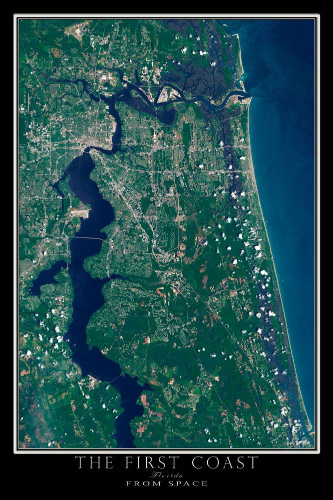 jacksonville florida the first coast satellite poster map