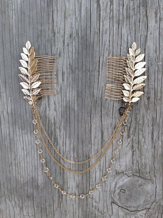 BEST SELLER Handmade Boho chic chains and leaves comb Free sprited glamour…