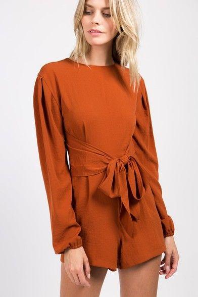 81978e465b Long Sleeve Burnt Orange Romper in 2019   dresses/rompers   Burnt orange  dress, Orange dress, Burnt orange