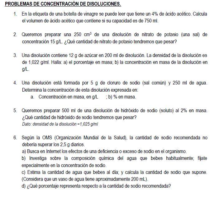Problemas de concentración disoluciones para 3º ESO.
