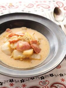 とろけるチーズとベーコンの白菜スープ煮#野菜#洋食#煮物