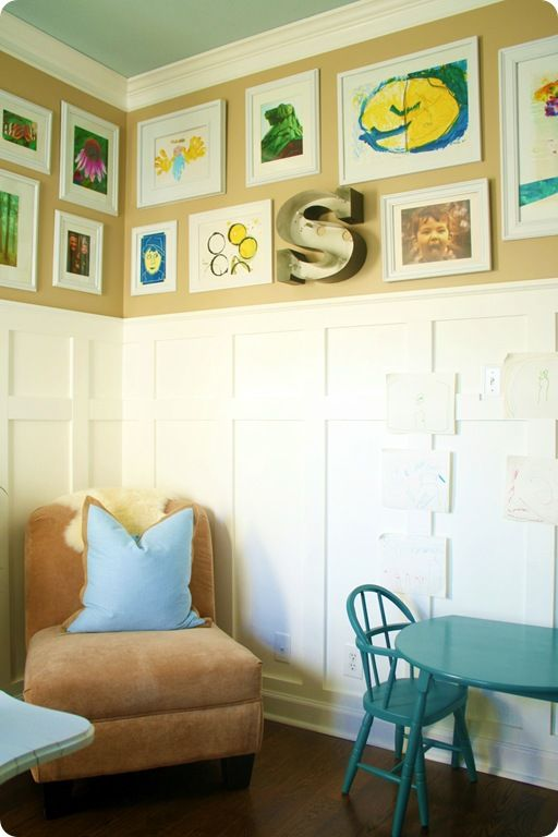 Color scheme: Thrifty Decor Chick, Display Artworks, Display Kids Artworks, Frames Kids, Spaces Kids, Art Ideas, Frames Artworks, Displaying Kids Artwork, Kids Rooms