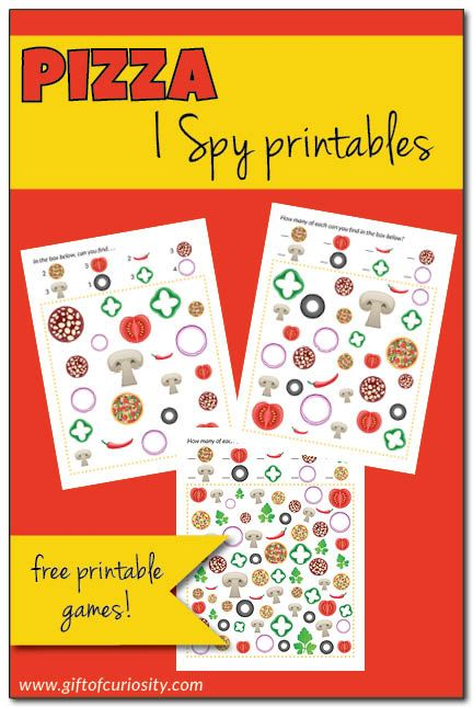 Free printable Pizza I Spy games with three levels of difficulty for kids ages 3 to 8. Great for visual discrimination practice! || Gift of Curiosity