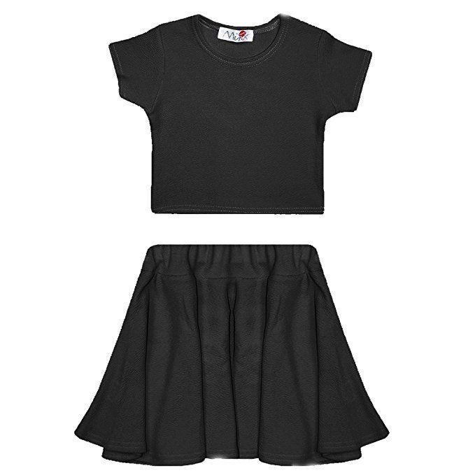 5161f71947 NEW GIRLS Kids Plain Crop Tops Skater Skirts Range Individual and ...