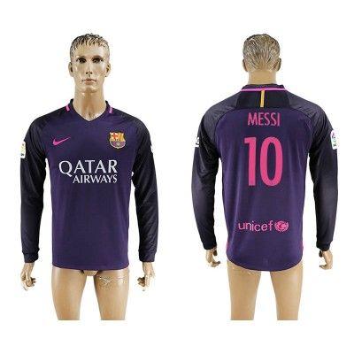 Barcelona 16-17 Lionel Messi 10 Udebane Trøje Langærmet.  http://www.fodboldsports.com/barcelona-16-17-lionel-messi-10-udebane-troje-langermet.  #fodboldtrøjer