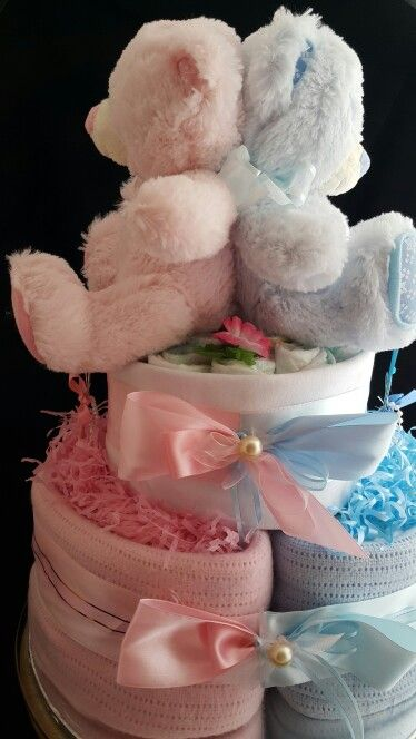 Born together friends forever.    Nappy cake fir boy and girl Twins.