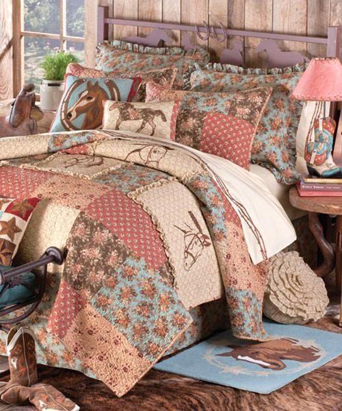 cowgirl quilt horse quilts bedding horse quilt bedding set - Horse Bedding