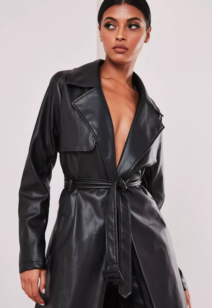 Black Faux Leather Trench Coat, Womens Faux Leather Trench Coat Uk