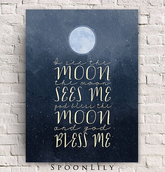 I See the Moon Print - Bless Me - God Bless Me - Night - Moon - Stars - WATERCOLOR Wall Art