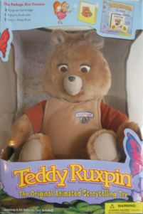 "One year our great-aunt Carolyn provided us with the ""hot toy"" that year:  Teddy Ruxpin, and I'll be damned if he wasn't one of the creepiest things ever."