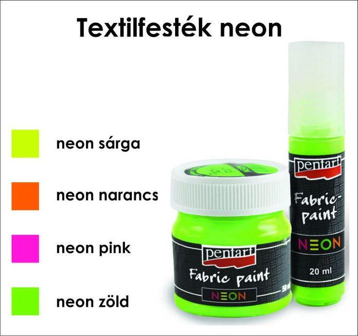Textilfesték neon színek 20 ml és 50 ml Pentart