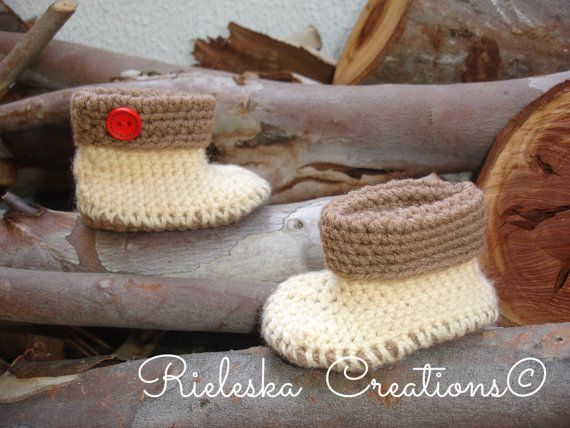 Crochet Cuffed Baby Booties Size: 6-12 months  Price is for the PATTERN only, not the finished product.  There is no shipping charge for this item, as it