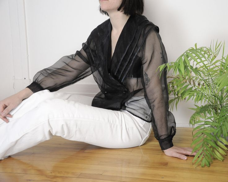 80s Black Transparent Puff Sleeve Blouse / Size M-L http://etsy.me/2i5Gh5c #clothing #women #blouse #puffsleeveblouse #ruffleblouse #seethroughblouse #transparentblouse #organzablouse #puffsleevetop