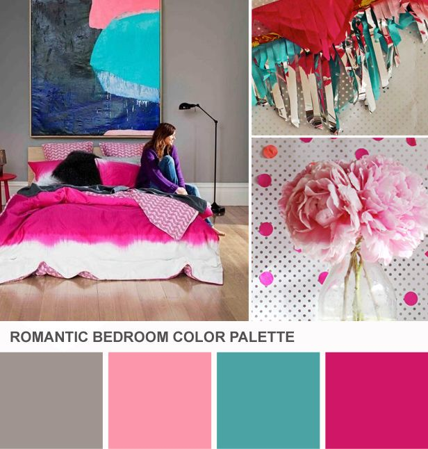 Romantic Bedroom Color Palette: Fuchsia, Teal, Pink And Gray