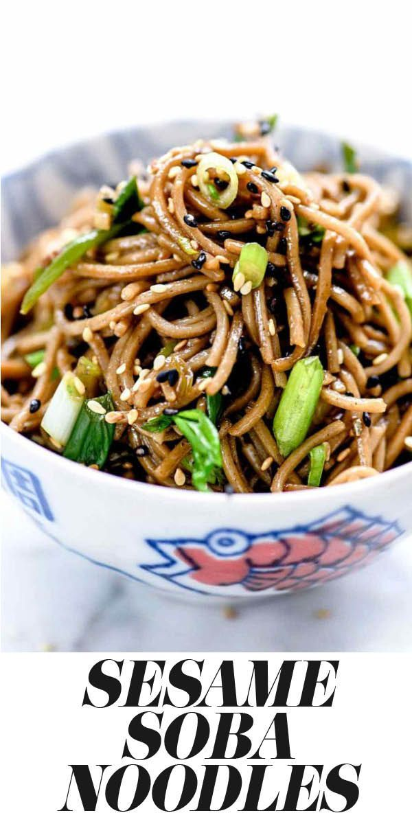 SESAME SOBA NOODLES This Japanese Sesame Soba Noodles recipe makes a simple Asian side dish or easy main meal that can be served hot or cold, and is on the table in 20 minutes or less | foodiecrush.com #soba #noodles #sesame #recipe #healthy