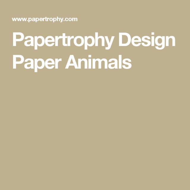 Papertrophy Design Paper Animals