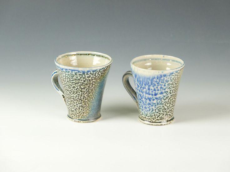 2 X REBECCA HARVEY SODA-FIRED BLUE ESPRESSO CUPS BARLEY SUGAR HANDLES   eBay