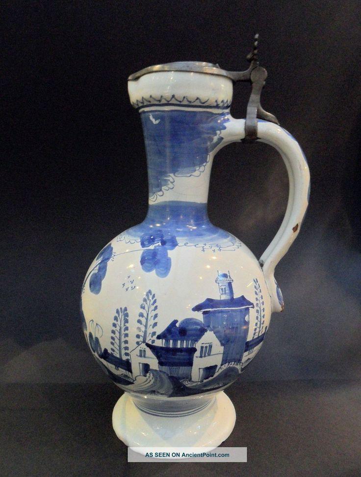 Beauty Scarce Large 18th Century German Hanau Faience Delftware Jug Jugs Photo Delftware