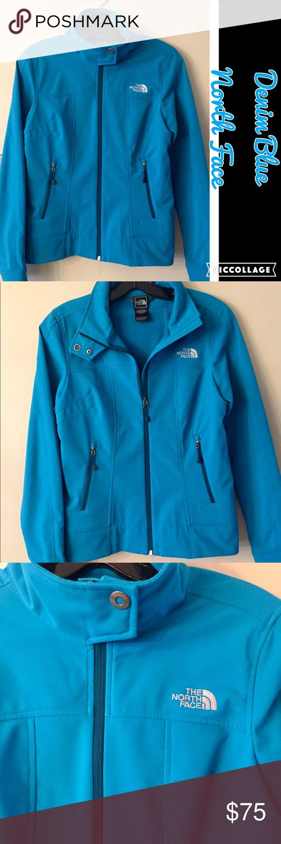 ❤️Denim Blue North Face Jacket Denim Blue North Face Jacket. Jacket has zip up front w/snap collar. Has two zip pockets. Wear w/collar open or closed. In excellent condition. Jacket is a Small/P North Face Jackets & Coats