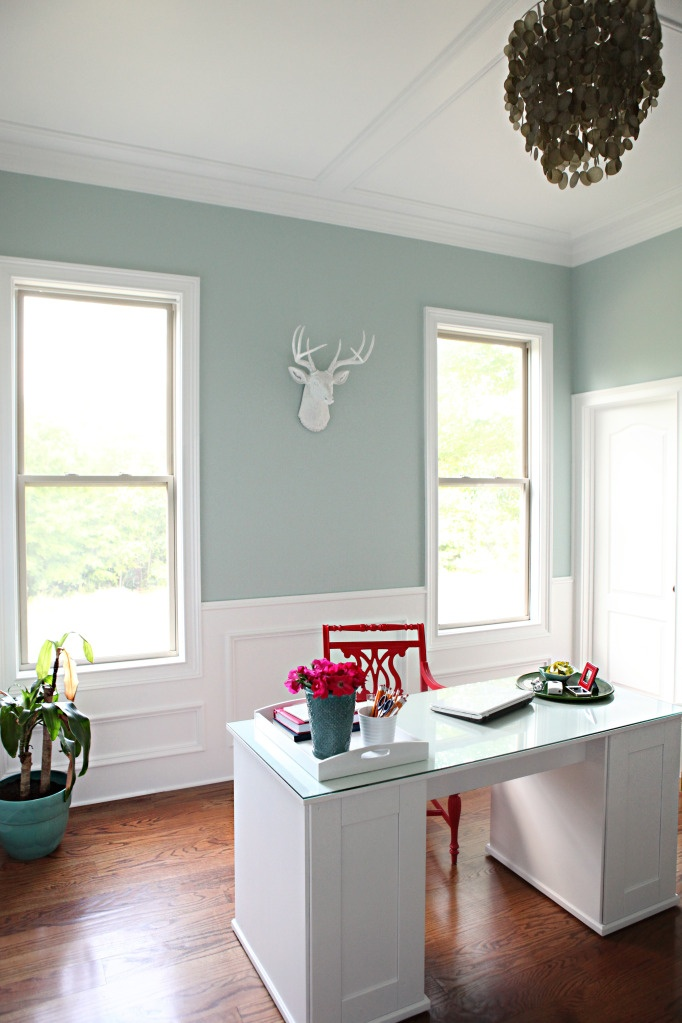 Amaze!  Home Office... Go Stags!  Love that Black Chandelier.Guest Room, Wall Colors, Blue Wall, Palladian Blue, Bower Power, Painting Colors, Wall Colours, Benjamin Moore, Home Offices