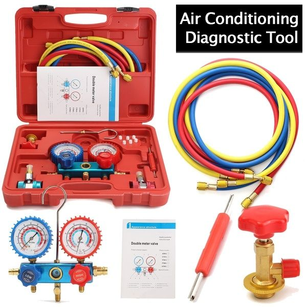 8 Pcs Set Automotive Family Air Conditioning Tools Ac Diagnostic A C Manifold Gauge Set Refrigeration For R134a Refrigerant With Case In 2020 Air Conditioning Tools Air Conditioning Repair Car Air Conditioning