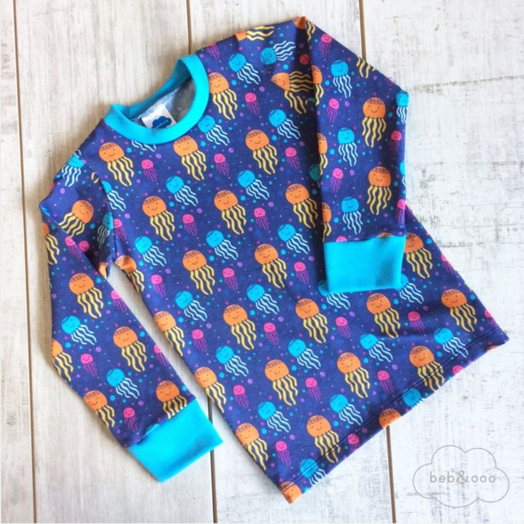 Happy Jellyfish Long Sleeve Shirt in Organic Cotton from Beb & Ooo. Made in the UK and Available at Modern Rascals.