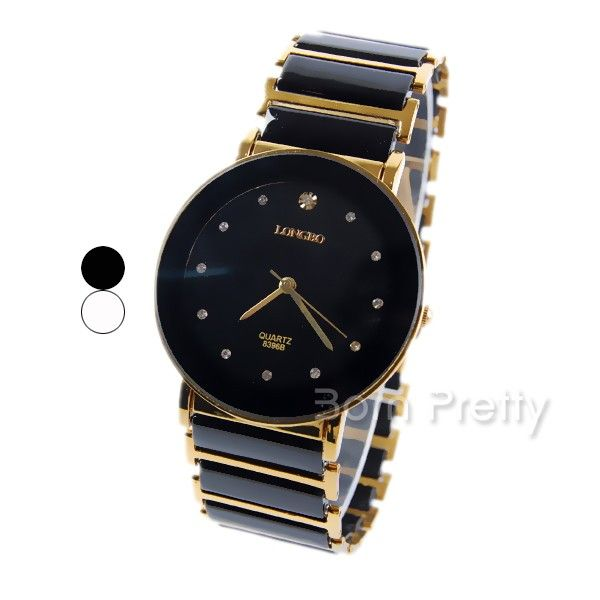 $17.66 Fantastic Women's Wrist Watch Rhinestoned Stripe Metallic Chain Steel Watch - BornPrettyStore.com
